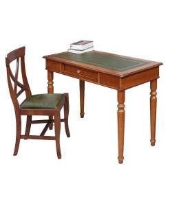 Ensemble bureau et chaise, ameublement pour le salon, ameublement classique pour le bureau, bureau classique, bureau en bois, chaise, chaise avec éco-cuir