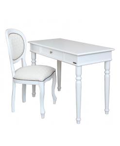 bureau + chaise, bureau blanc, chaise blanche, bureau d'écriture