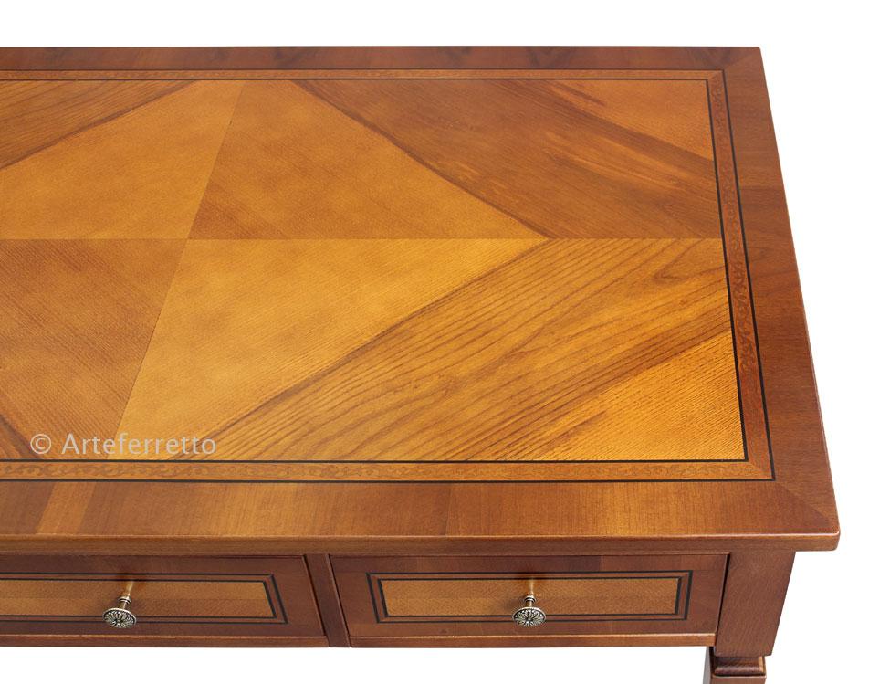 bureau classique 3 tiroirs et 3 tirettes lamaisonplus. Black Bedroom Furniture Sets. Home Design Ideas