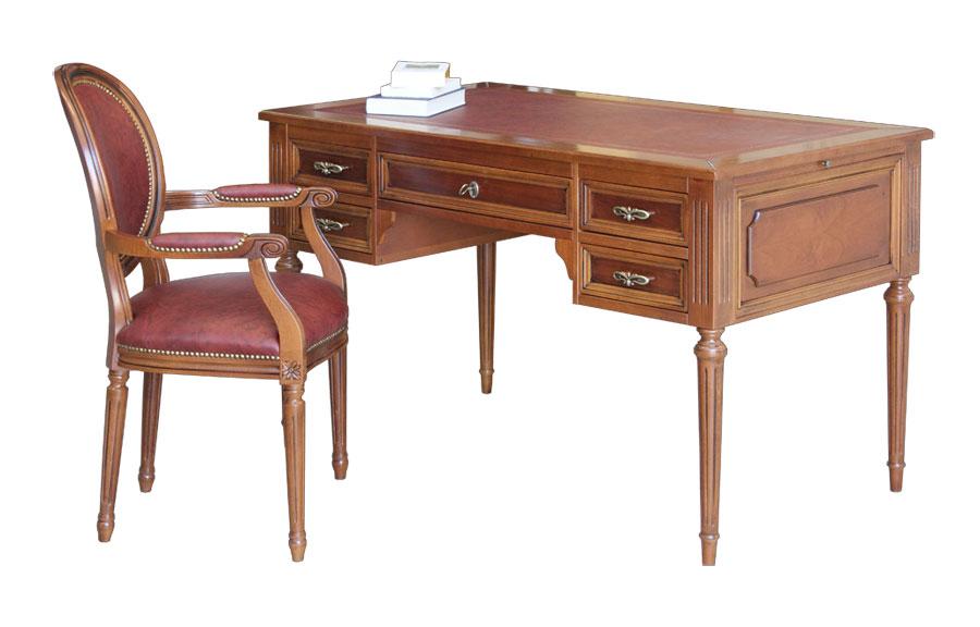 Détails sur Bureau Louis XVI avec tiroirs - Fauteuil assorti - Mobilier du  bureau classique