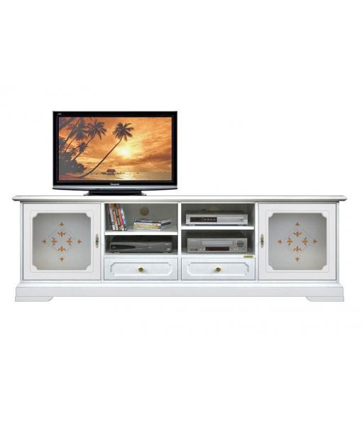 Meuble tv 2m top glass lamaisonplus for Meuble tv 2m long