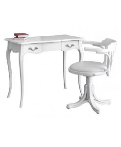 ensemble bureau et chaise, chaise en cuir écologique blanc, bureau blanc