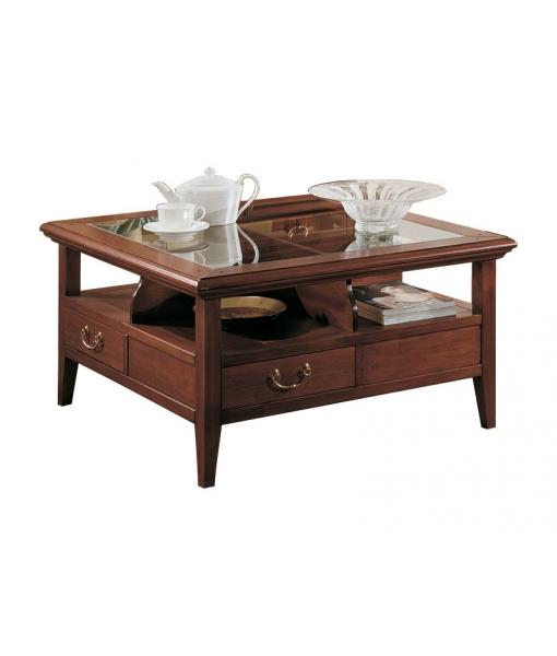table basse 4 tiroirs et dessus en cristal lamaisonplus. Black Bedroom Furniture Sets. Home Design Ideas