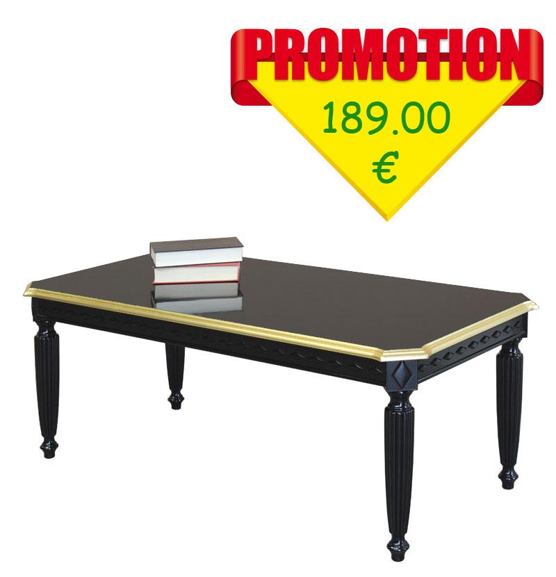 table basse rectangulaire noir et or super promo lamaisonplus. Black Bedroom Furniture Sets. Home Design Ideas