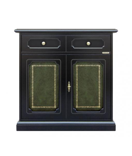 Buffet de rangement noir avec cuir vert, RÉF : 3012-GB-plus