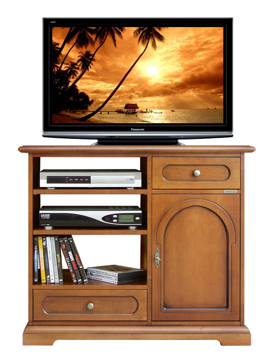 meuble tv hi fi en bois massif style classique petit. Black Bedroom Furniture Sets. Home Design Ideas
