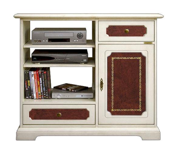 Petit meuble meuble tv bois laqué et cuir bordeaux meuble de style