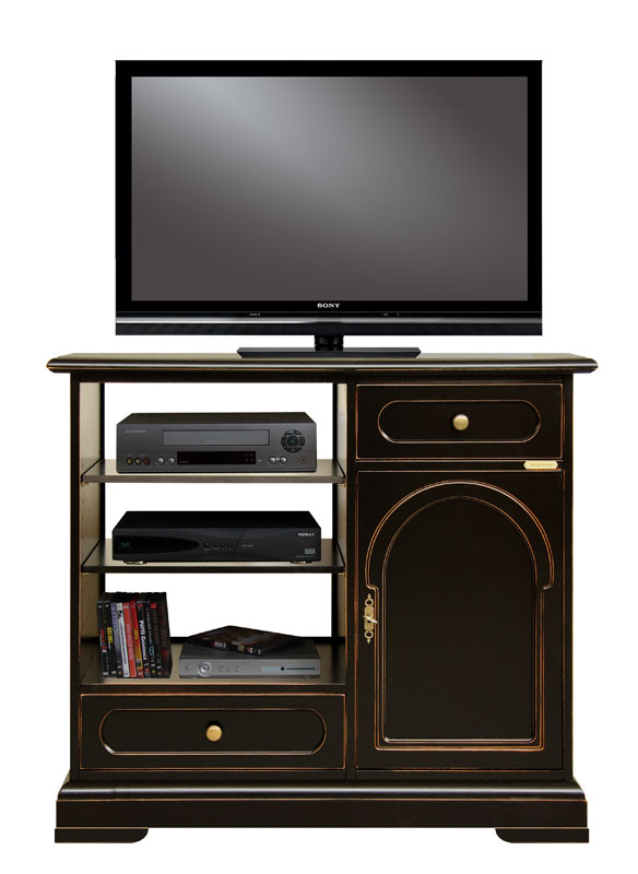 meuble tv classique noir laqu 2 tiroirs et 1 porte meuble fabriqu en italie ebay. Black Bedroom Furniture Sets. Home Design Ideas