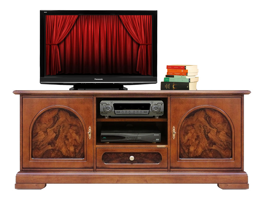 meuble tv ronce de noyer bas classique lamaisonplus. Black Bedroom Furniture Sets. Home Design Ideas