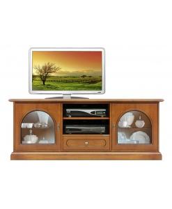 Meuble Tv bas classique avec portes vitrées Arteferretto