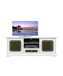 Meuble tv laqué avec cuir vert style classique Arteferretto