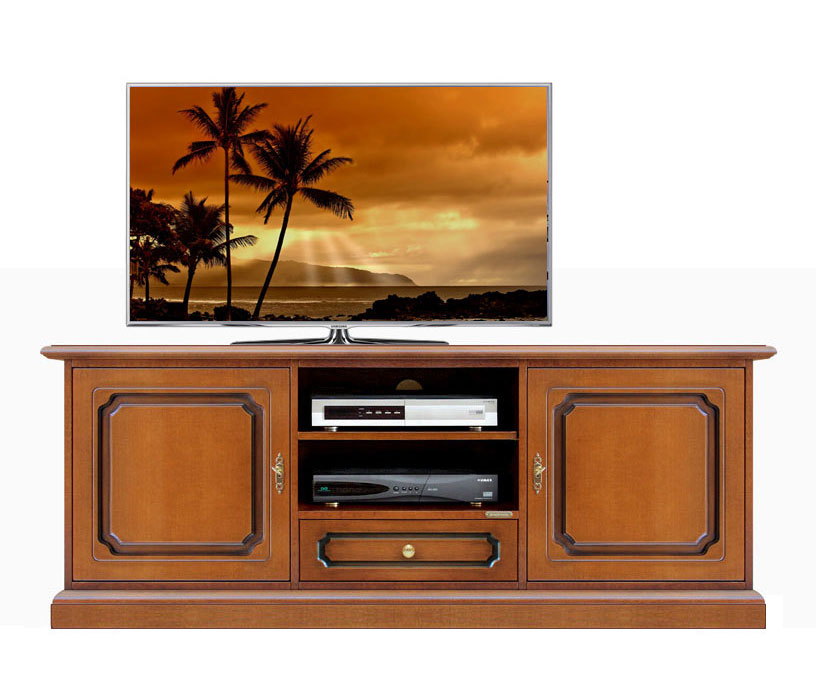 meuble tv bas en bois 150 cm largeur lamaisonplus. Black Bedroom Furniture Sets. Home Design Ideas
