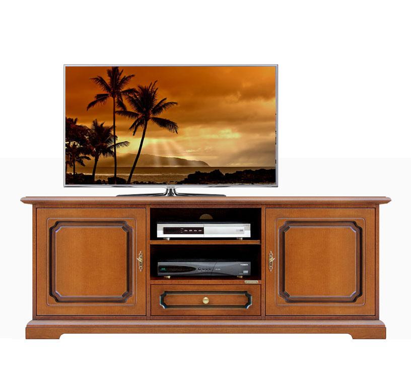 Meuble tv bas en bois 150 cm largeur lamaisonplus for Meuble tv petite largeur