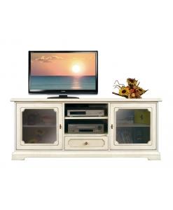 Meuble Tv bas classique portes vitrées Arteferretto