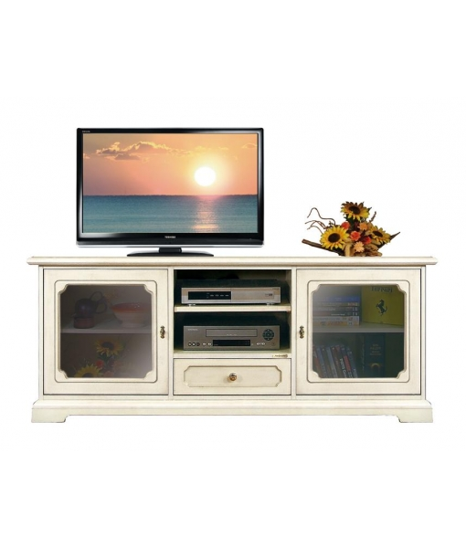 Meuble tv bas classique avec portes vitr es lamaisonplus for Meuble avec cachette