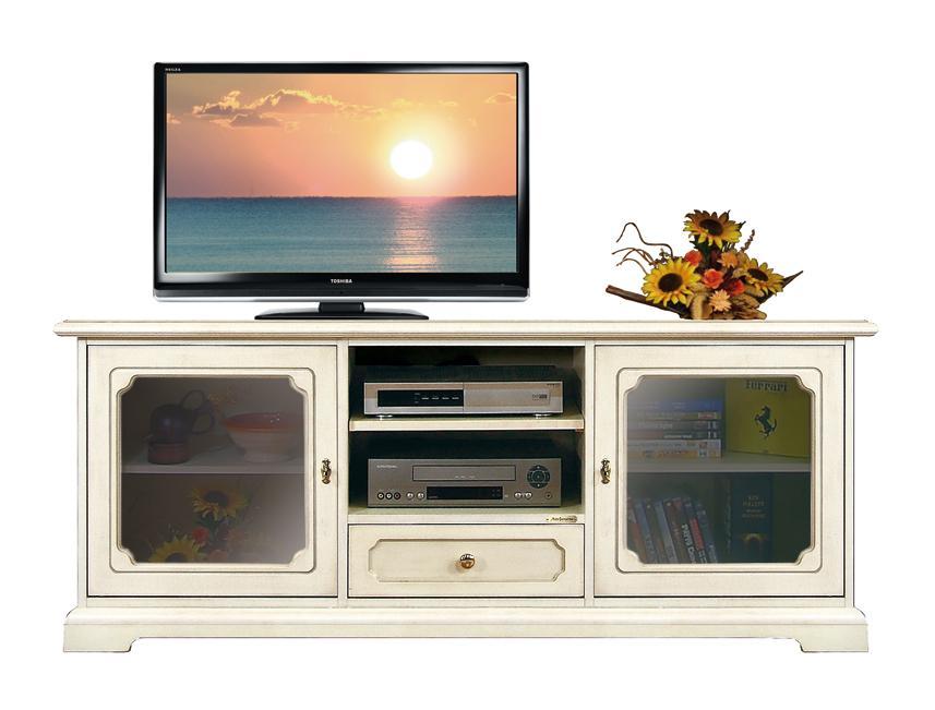 Meuble tv bas classique avec portes vitr es lamaisonplus - Meuble tv avec porte vitree ...