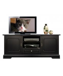 Banc tv noir en bois avec 2 portes Arteferretto