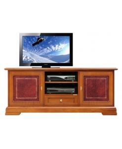 Meuble tv détails en cuir 150 cm largeur Arteferretto