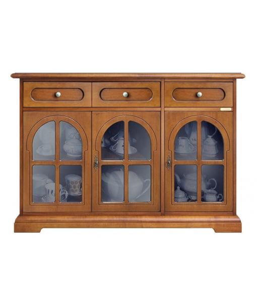 Buffet vitrine classique 3 portes lamaisonplus for Largeur porte classique