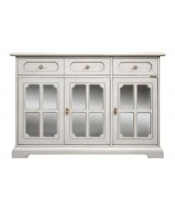 Meuble buffet de rangement portes vitrées, bahut, meuble buffet blanc, meuble portes vitrées