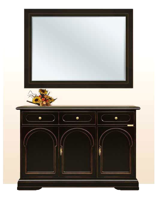 buffet et miroir buffet noir avec miroir bois massif ameublement classique ebay. Black Bedroom Furniture Sets. Home Design Ideas