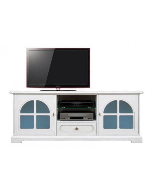 Meuble tv laqu blanc avec vitre bleue lamaisonplus - Meuble tv avec vitre ...