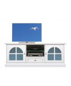 Meuble tv laqué blanc avec vitre bleue Arteferretto