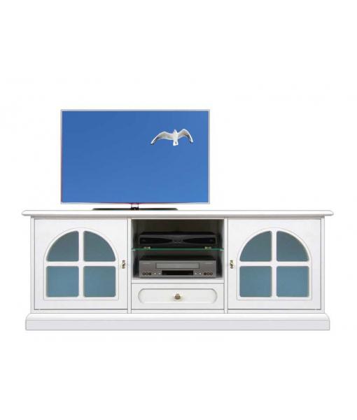 Meuble tv laqué blanc avec vitre bleue Arteferretto, Réf. 3159-BC