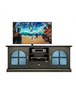 Meuble tv bas noir avec méthacrylate bleu Arteferretto