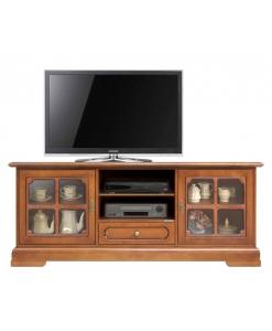 Meuble tv classique pour salon portes vitrées Arteferretto
