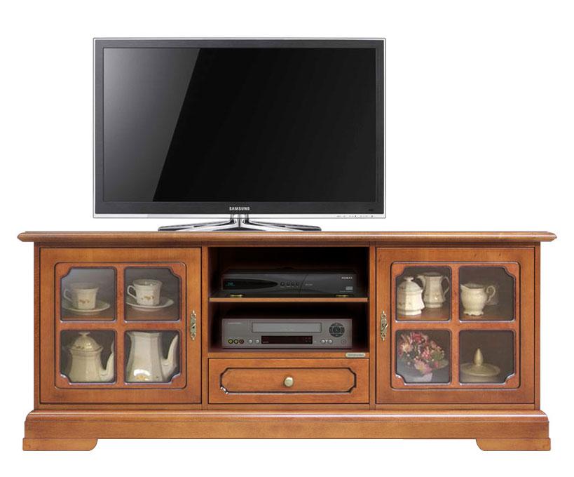 meuble tv classique pour salon portes vitr es lamaisonplus. Black Bedroom Furniture Sets. Home Design Ideas