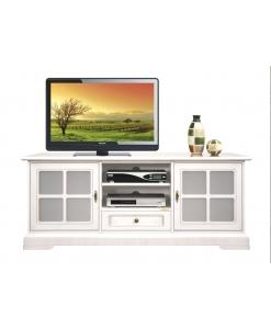 Meuble tv portes vitrées bas classique Arteferretto