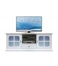 Banc Tv laqué blanc avec vitre dépolie bleue