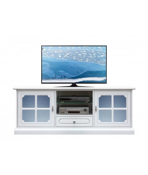 Banc Tv laqué blanc avec vitre dépolie bleue, RÉF : 3159-SGAZ