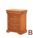 Table de chevet Louis Philippe, table de chevet classique 3 tiroirs, chevet, chambre classique, table de chevet en bois