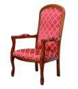 fauteuil voltaire, fauteuil style classique, fauteuil de style, tissu rouge