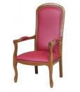 fauteuil voltaire, fauteuil bois de hêtre,fauteuil cuir rouge, fauteuil style classique