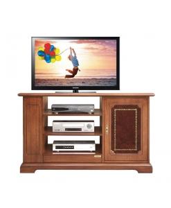 meuble tv 1 porte, meuble tv classique, meuble tv avec cuir véritable