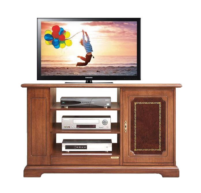 Meuble tv 1 porte avec cuir v ritable lamaisonplus for Meuble avec cachette