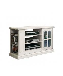 meuble tv laqué, meuble tv 1 porte, meuble tv avec vitrine