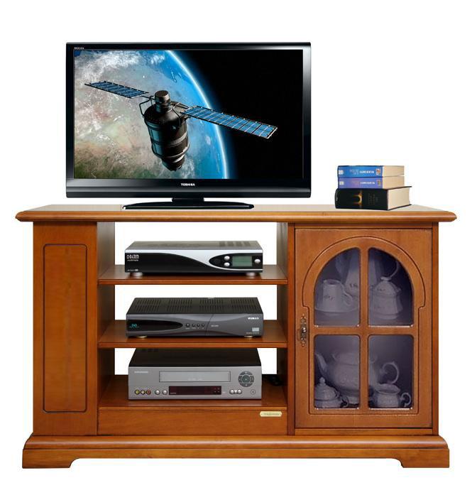 Meuble Tv classique avec porte vitrée - LaMaisonPlus
