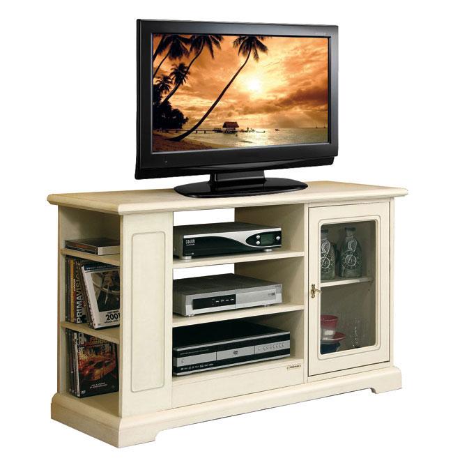 Meuble tv de style avec rayonnage lat ral lamaisonplus for Meuble avec cachette