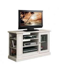meuble tv classique laqué ave vitrine et rayonnage latéral