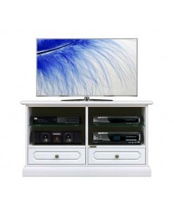 meuble Tv blanc, meuble télé taille moyenne, meuble tv classique en bois, meuble tv petites dimensions