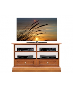 meuble tv 2 tiroirs, meuble tv, petit meuble tv, meuble tv en bois, meuble tv classique
