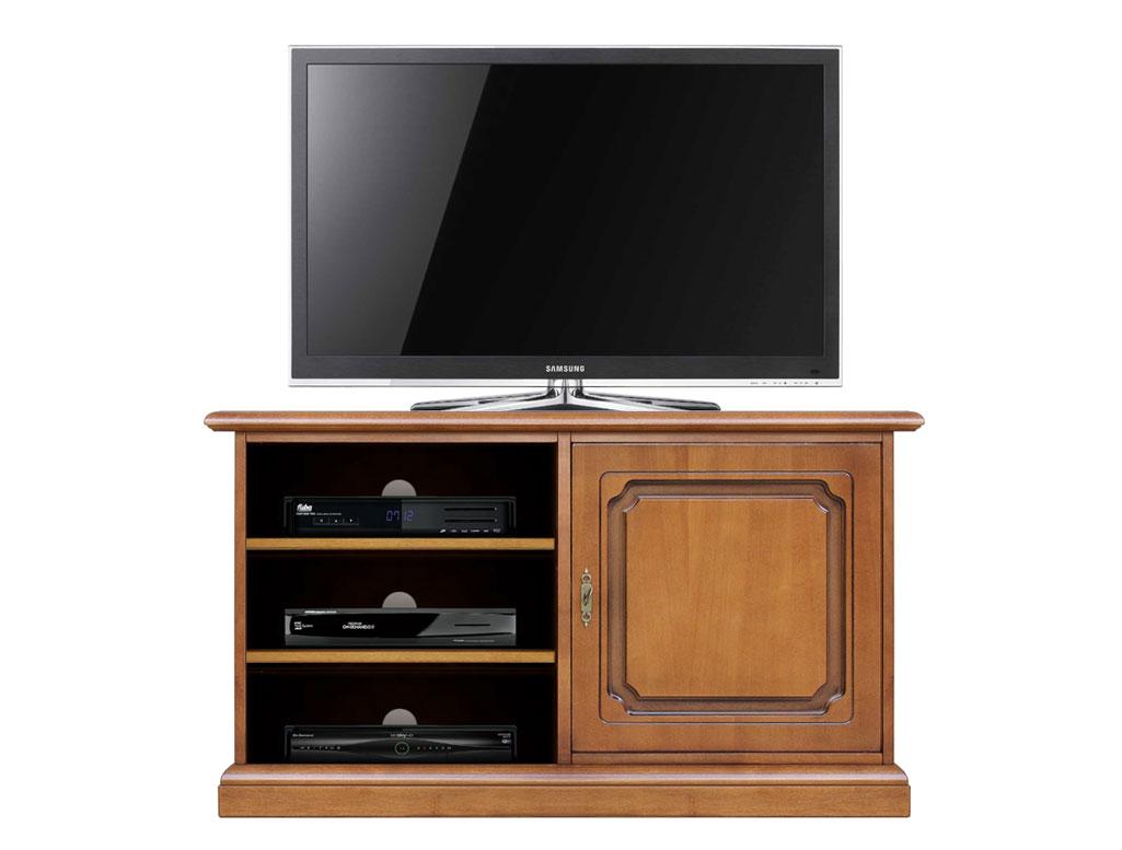 Meuble tv en bois 1 porte et tag res lamaisonplus for Meuble tv petite largeur