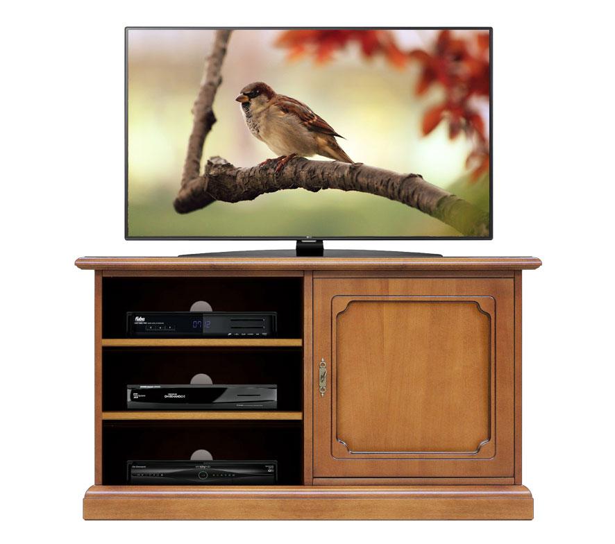 Meuble tv 1 porte en bois et tag res lamaisonplus for Meuble tv et etagere