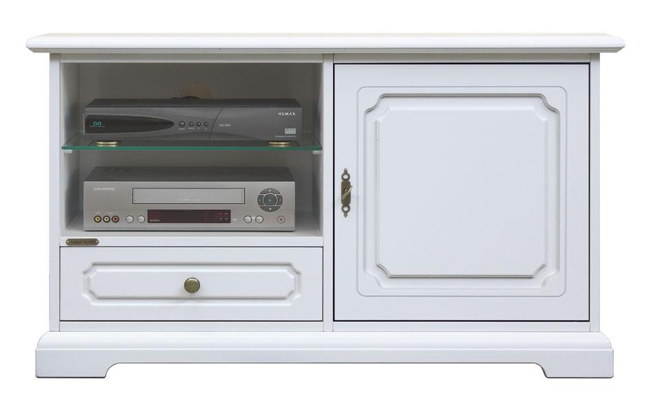Meuble tv en bois laqu 1 porte 1 tiroir lamaisonplus for Meuble porte secrete