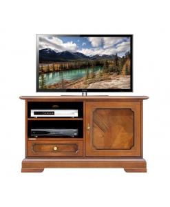 meuble tv 1 porte, meuble tv classique, meuble tv en bois ronce de noyer, meuble tv pour le salon, meuble tv en bois