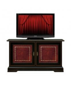 meuble tv bas noir, meuble tv noir, meuble tv avec cuir véritable